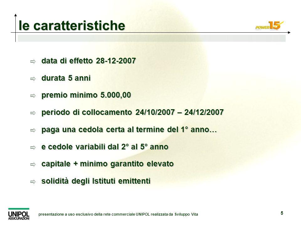presentazione a uso esclusivo della rete commerciale UNIPOL realizzata da Sviluppo Vita 5 data di effetto 28-12-2007 data di effetto 28-12-2007 durata