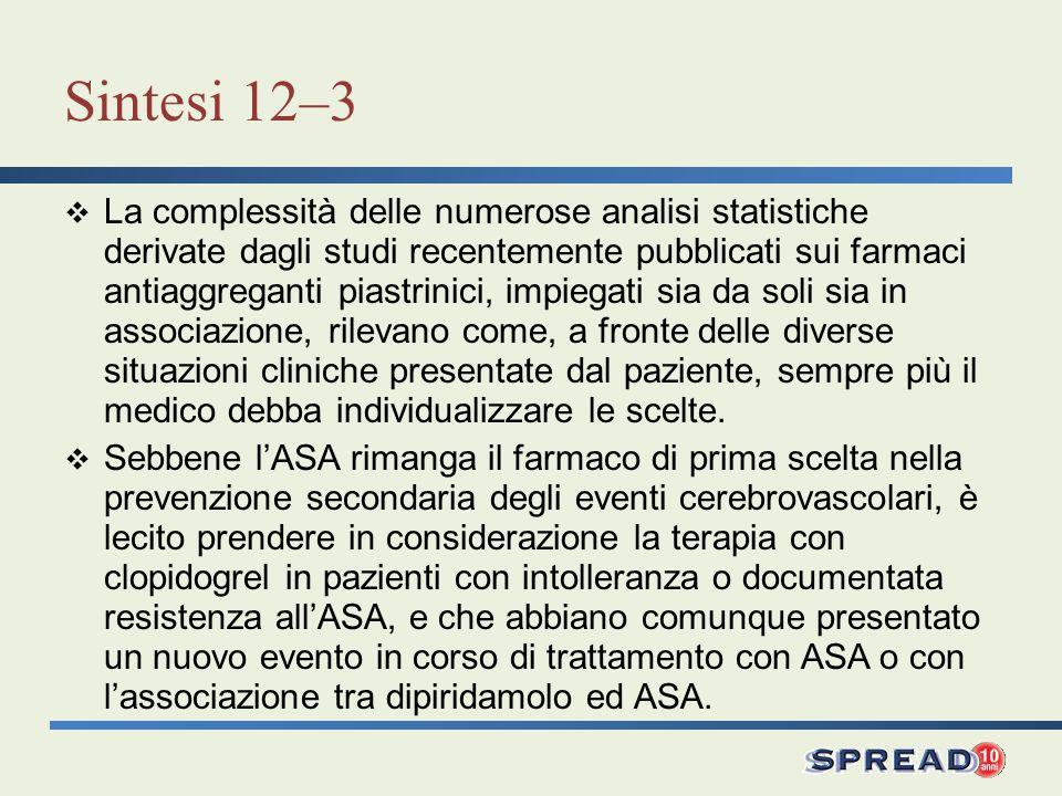 Sintesi 12–3 La complessità delle numerose analisi statistiche derivate dagli studi recentemente pubblicati sui farmaci antiaggreganti piastrinici, im