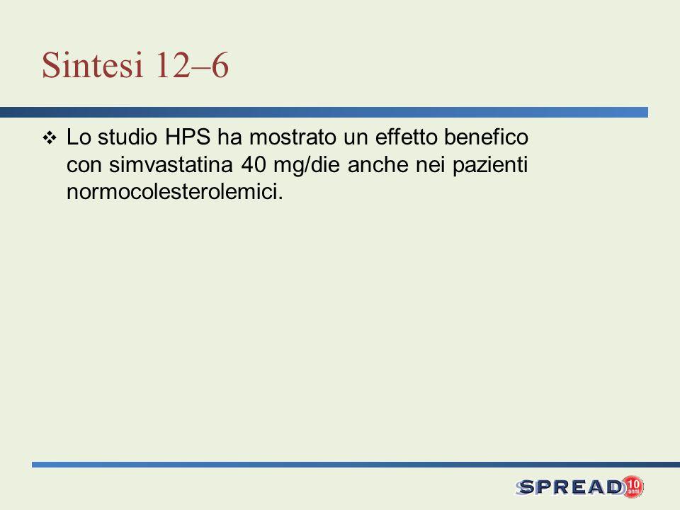 Sintesi 12–6 Lo studio HPS ha mostrato un effetto benefico con simvastatina 40 mg/die anche nei pazienti normocolesterolemici.