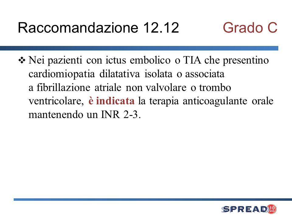 Raccomandazione 12.12Grado C Nei pazienti con ictus embolico o TIA che presentino cardiomiopatia dilatativa isolata o associata a fibrillazione atrial