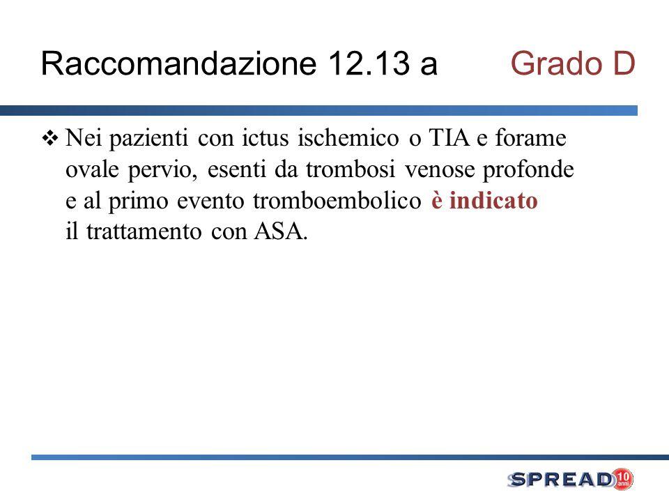 Raccomandazione 12.13 aGrado D Nei pazienti con ictus ischemico o TIA e forame ovale pervio, esenti da trombosi venose profonde e al primo evento trom