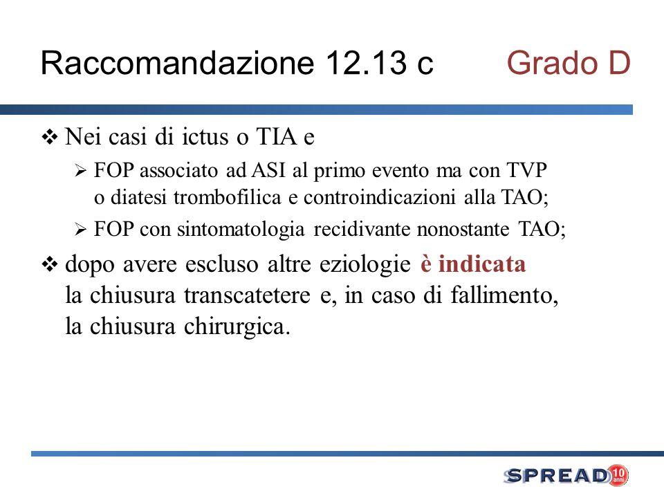 Raccomandazione 12.13 cGrado D Nei casi di ictus o TIA e FOP associato ad ASI al primo evento ma con TVP o diatesi trombofilica e controindicazioni al