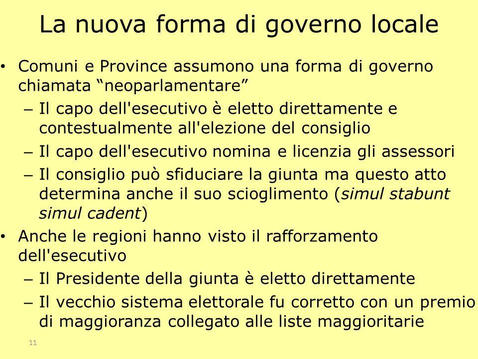 11 La nuova forma di governo locale Comuni e Province assumono una forma di governo chiamata neoparlamentare – Il capo dell'esecutivo è eletto diretta