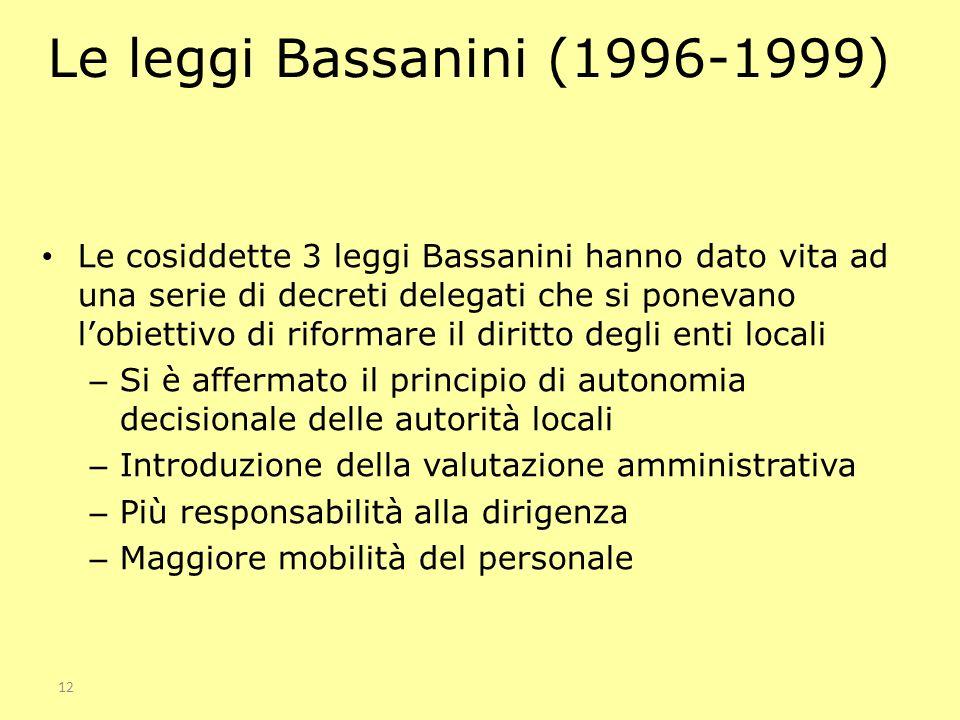 12 Le leggi Bassanini (1996-1999) Le cosiddette 3 leggi Bassanini hanno dato vita ad una serie di decreti delegati che si ponevano lobiettivo di rifor