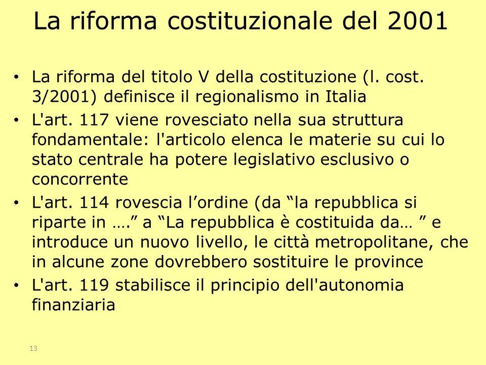 13 La riforma costituzionale del 2001 La riforma del titolo V della costituzione (l. cost. 3/2001) definisce il regionalismo in Italia L'art. 117 vien