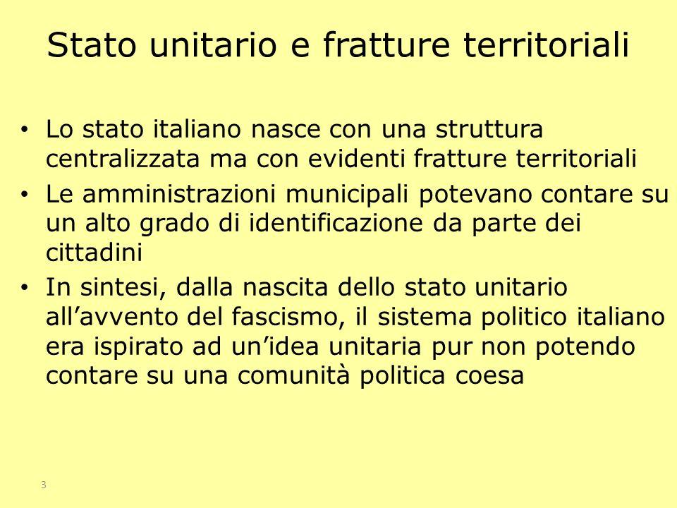 3 Stato unitario e fratture territoriali Lo stato italiano nasce con una struttura centralizzata ma con evidenti fratture territoriali Le amministrazi
