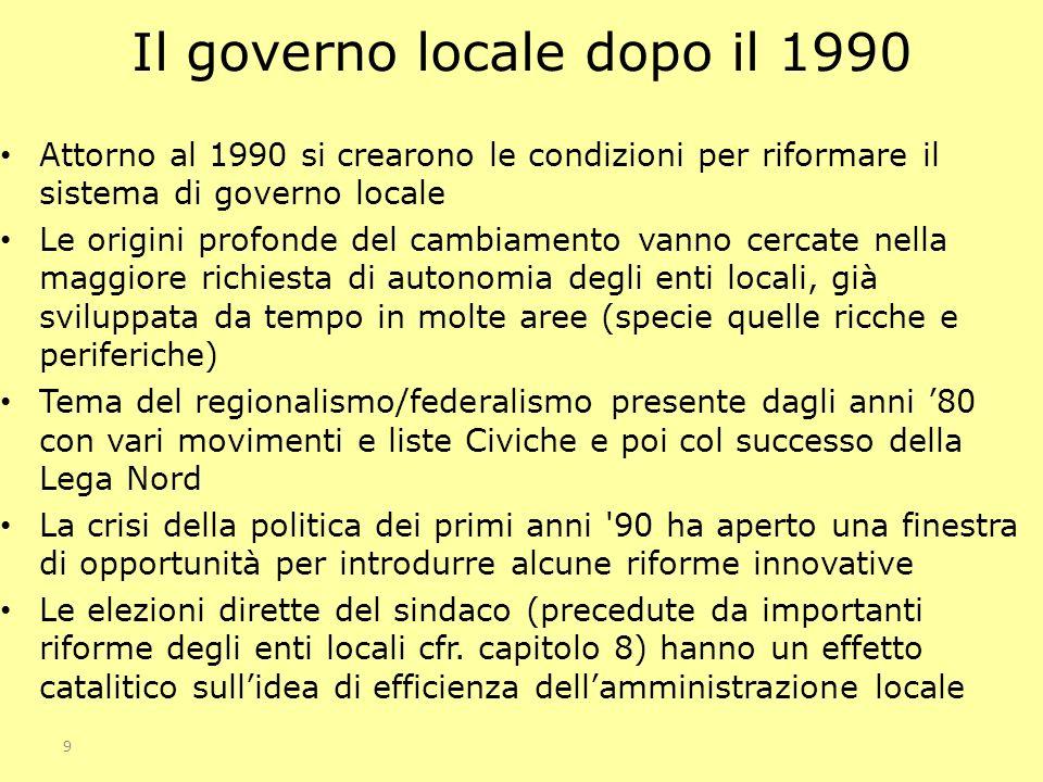9 Il governo locale dopo il 1990 Attorno al 1990 si crearono le condizioni per riformare il sistema di governo locale Le origini profonde del cambiame