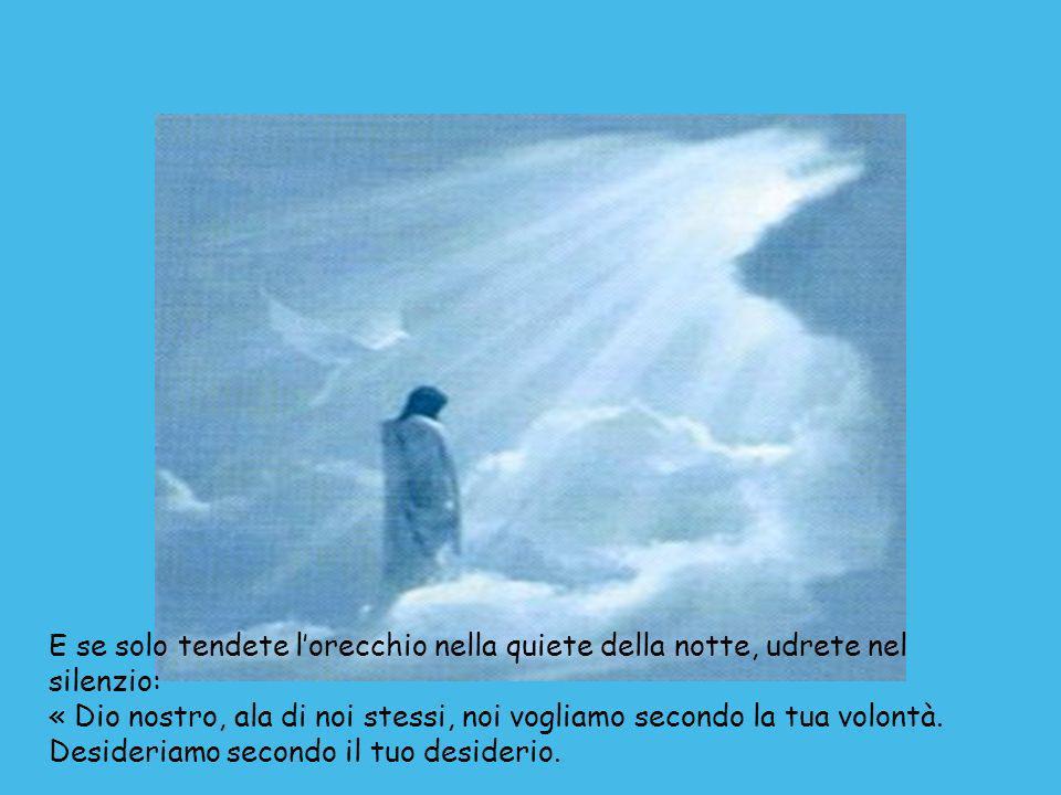 E se solo tendete lorecchio nella quiete della notte, udrete nel silenzio: « Dio nostro, ala di noi stessi, noi vogliamo secondo la tua volontà.