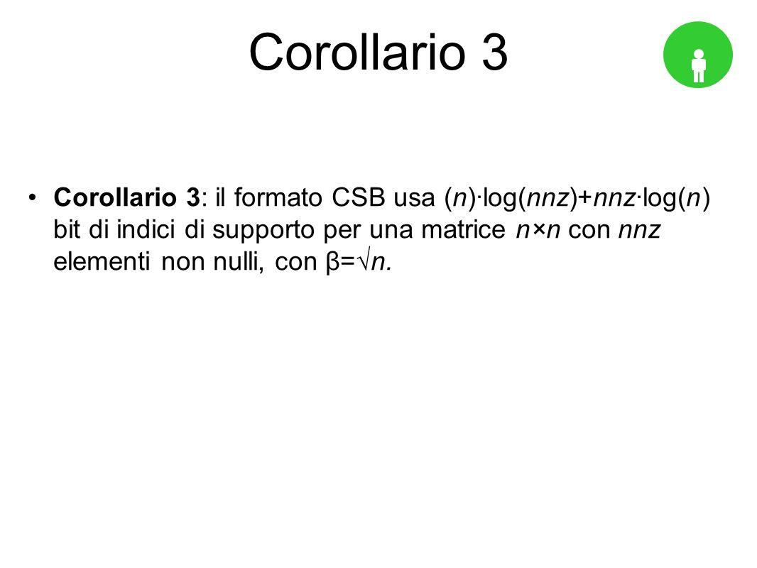 Corollario 3 Corollario 3: il formato CSB usa (n)log(nnz)+nnzlog(n) bit di indici di supporto per una matrice n×n con nnz elementi non nulli, con β=n.