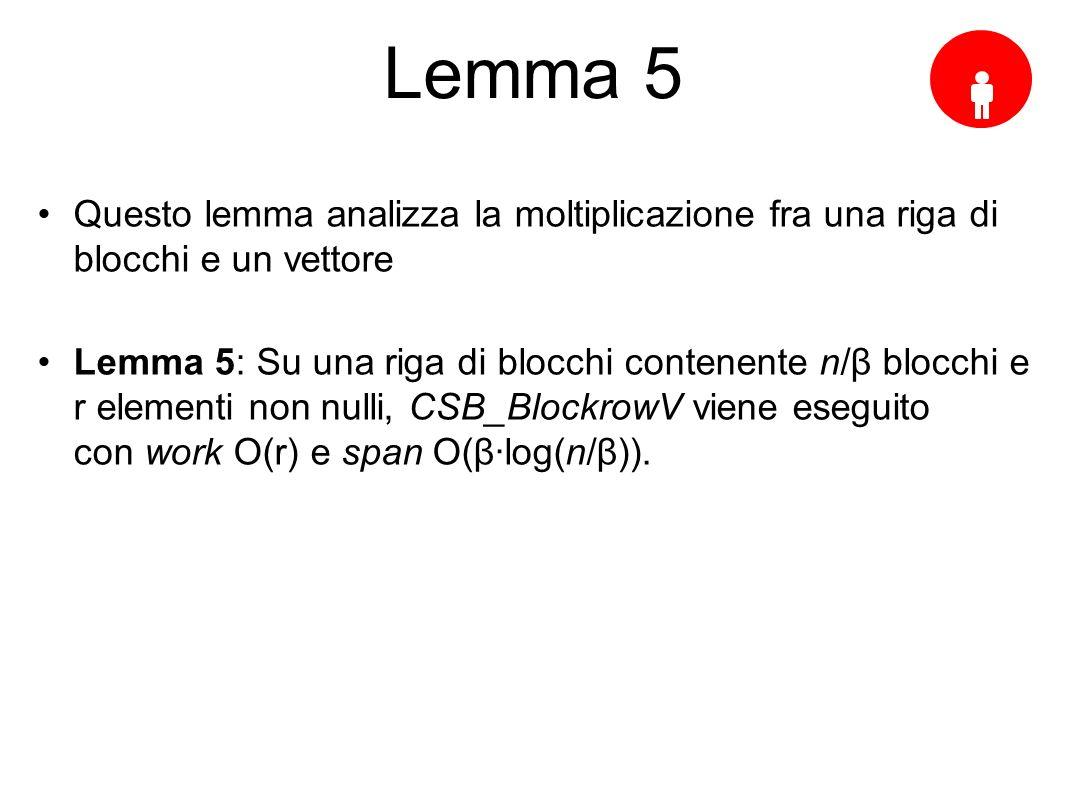 Lemma 5 Questo lemma analizza la moltiplicazione fra una riga di blocchi e un vettore Lemma 5: Su una riga di blocchi contenente n/β blocchi e r elementi non nulli, CSB_BlockrowV viene eseguito con work O(r) e span O(βlog(n/β)).