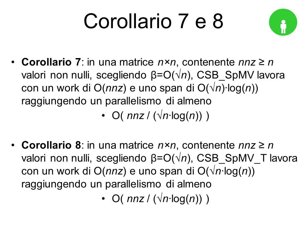 Corollario 7 e 8 Corollario 7: in una matrice n×n, contenente nnz n valori non nulli, scegliendo β=O(n), CSB_SpMV lavora con un work di O(nnz) e uno span di O(n)log(n)) raggiungendo un parallelismo di almeno O( nnz / (nlog(n)) ) Corollario 8: in una matrice n×n, contenente nnz n valori non nulli, scegliendo β=O(n), CSB_SpMV_T lavora con un work di O(nnz) e uno span di O(nlog(n)) raggiungendo un parallelismo di almeno O( nnz / (nlog(n)) )