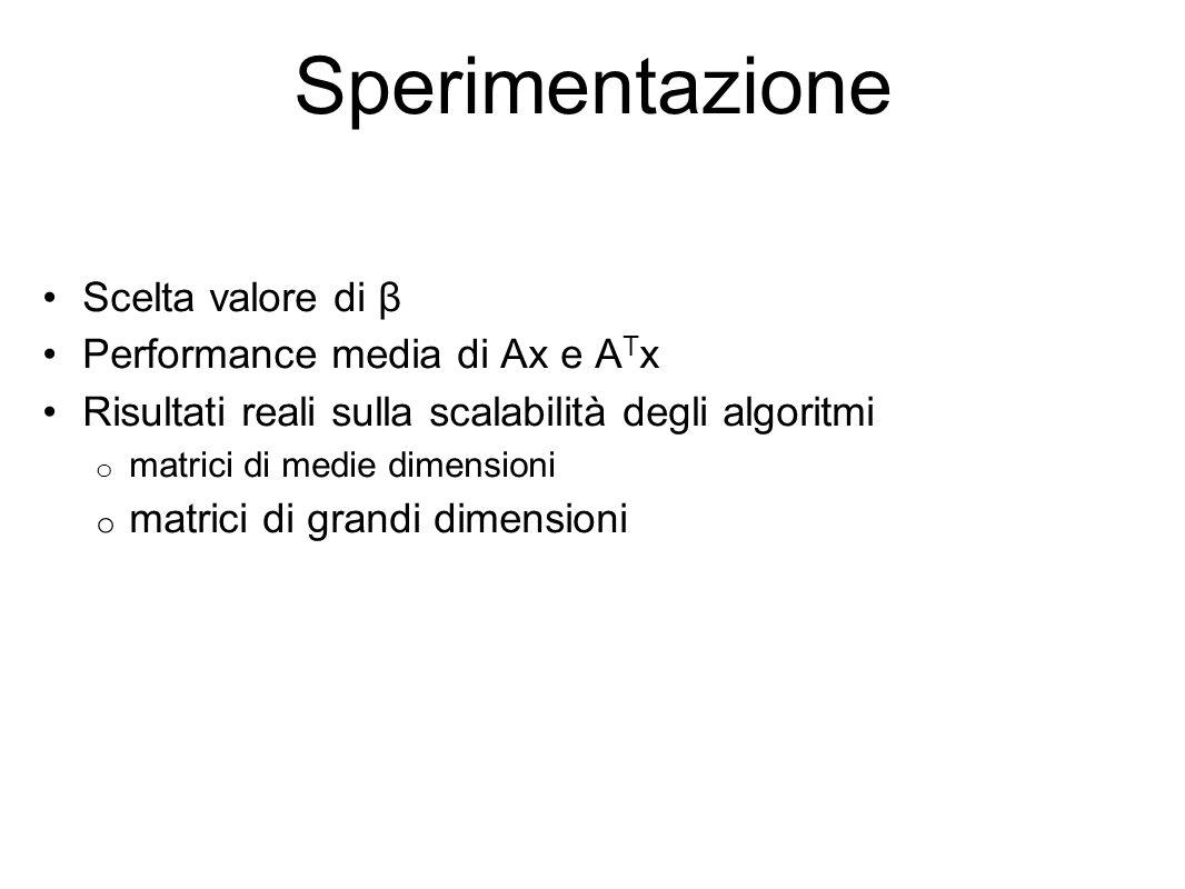 Sperimentazione Scelta valore di β Performance media di Ax e A T x Risultati reali sulla scalabilità degli algoritmi o matrici di medie dimensioni o matrici di grandi dimensioni