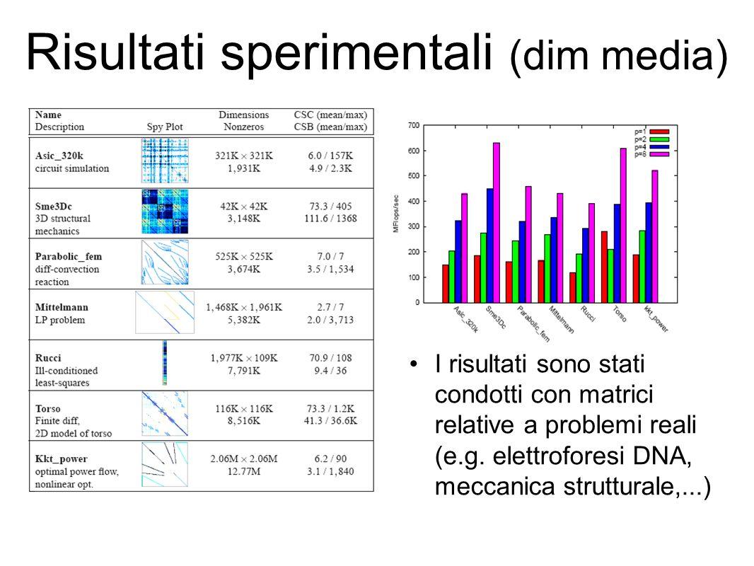 Risultati sperimentali (dim media) I risultati sono stati condotti con matrici relative a problemi reali (e.g.