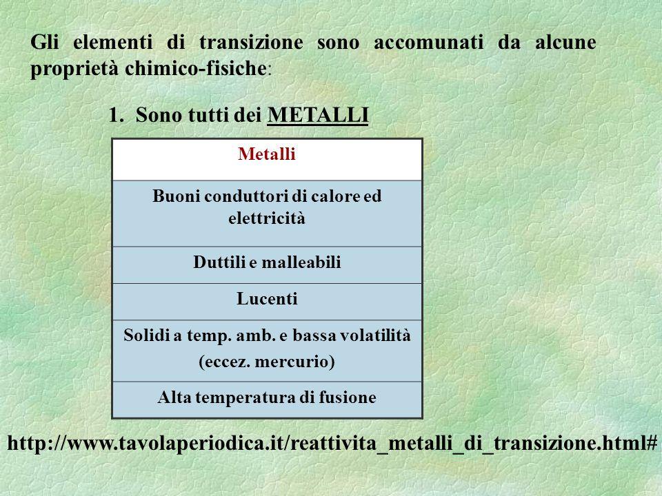 Gli elementi di transizione sono accomunati da alcune proprietà chimico-fisiche: 1. Sono tutti dei METALLI http://www.tavolaperiodica.it/reattivita_me