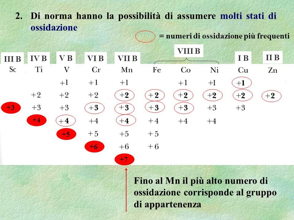 .. 2. Di norma hanno la possibilità di assumere molti stati di ossidazione Fino al Mn il più alto numero di ossidazione corrisponde al gruppo di appar