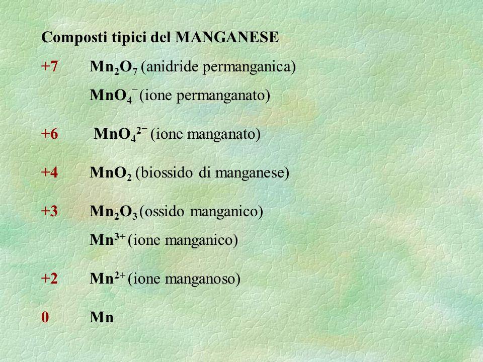 Composti tipici del MANGANESE +7 Mn 2 O 7 (anidride permanganica) MnO 4 – (ione permanganato) +6 MnO 4 2 – (ione manganato) +4MnO 2 (biossido di manga