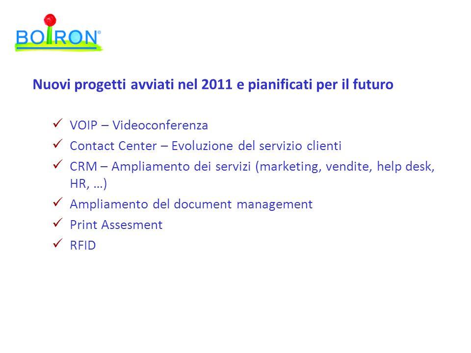 VOIP – Videoconferenza Contact Center – Evoluzione del servizio clienti CRM – Ampliamento dei servizi (marketing, vendite, help desk, HR, …) Ampliamento del document management Print Assesment RFID Nuovi progetti avviati nel 2011 e pianificati per il futuro