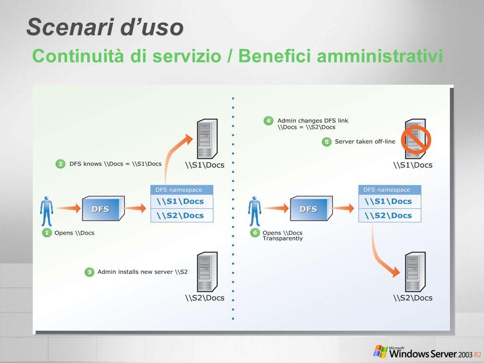 Scenari duso Continuità di servizio / Benefici amministrativi