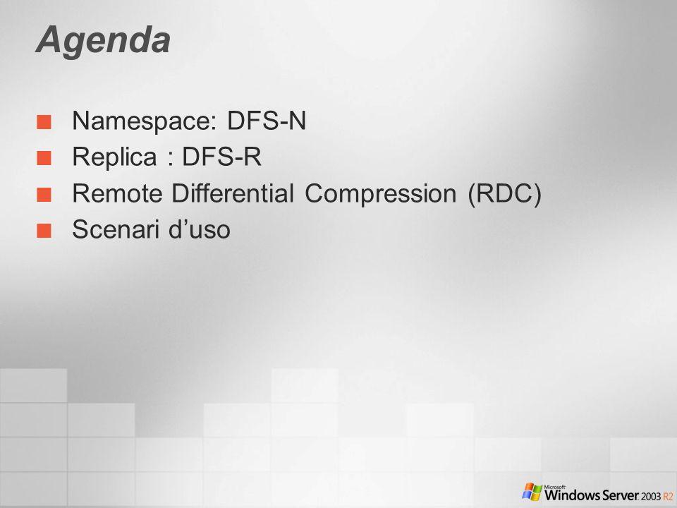 Agenda Namespace: DFS-N Replica : DFS-R Remote Differential Compression (RDC) Scenari duso