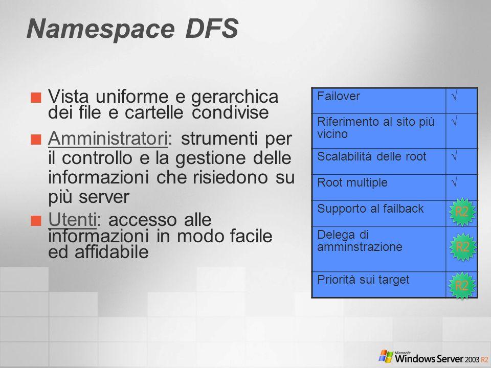 Namespace DFS Vista uniforme e gerarchica dei file e cartelle condivise Amministratori: strumenti per il controllo e la gestione delle informazioni ch
