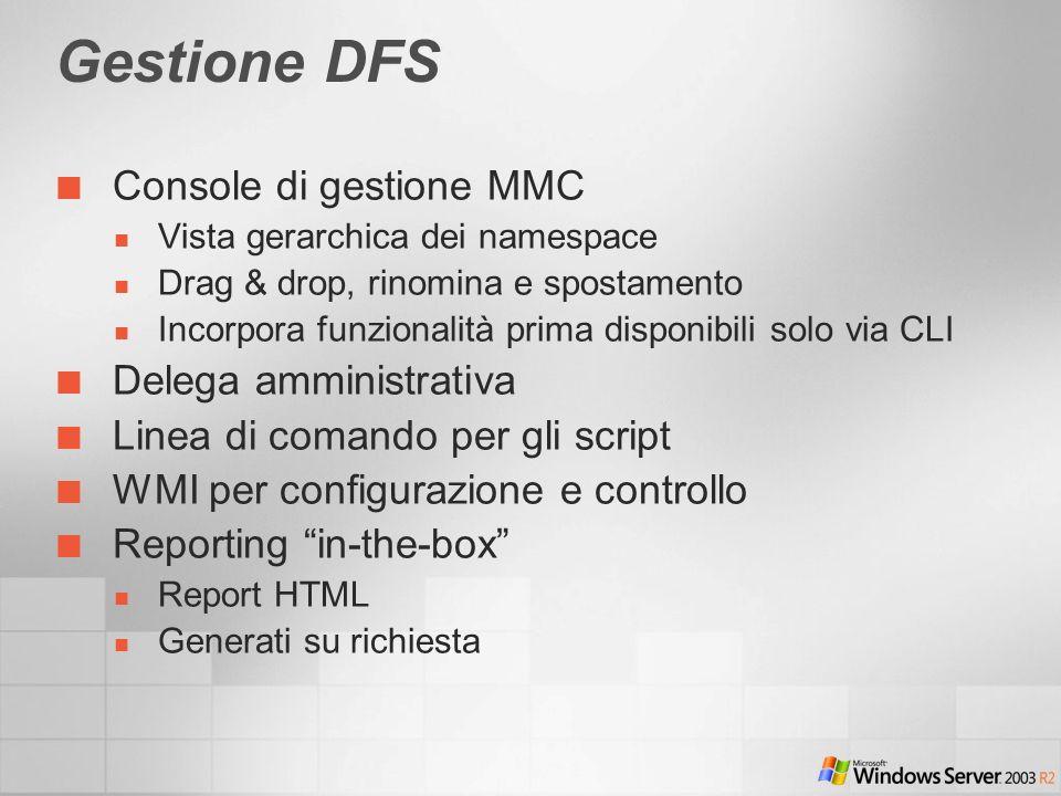 Console di gestione MMC Vista gerarchica dei namespace Drag & drop, rinomina e spostamento Incorpora funzionalità prima disponibili solo via CLI Delega amministrativa Linea di comando per gli script WMI per configurazione e controllo Reporting in-the-box Report HTML Generati su richiesta Gestione DFS