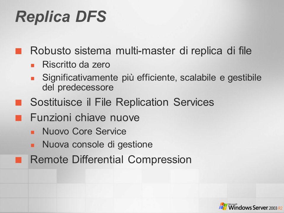 Replica DFS Robusto sistema multi-master di replica di file Riscritto da zero Significativamente più efficiente, scalabile e gestibile del predecessor