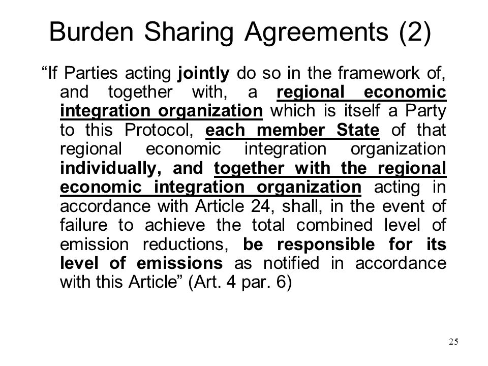 Burden Sharing Agreements (2) If Parties acting jointly do so in the framework of, and together with, a regional economic integration organization whi