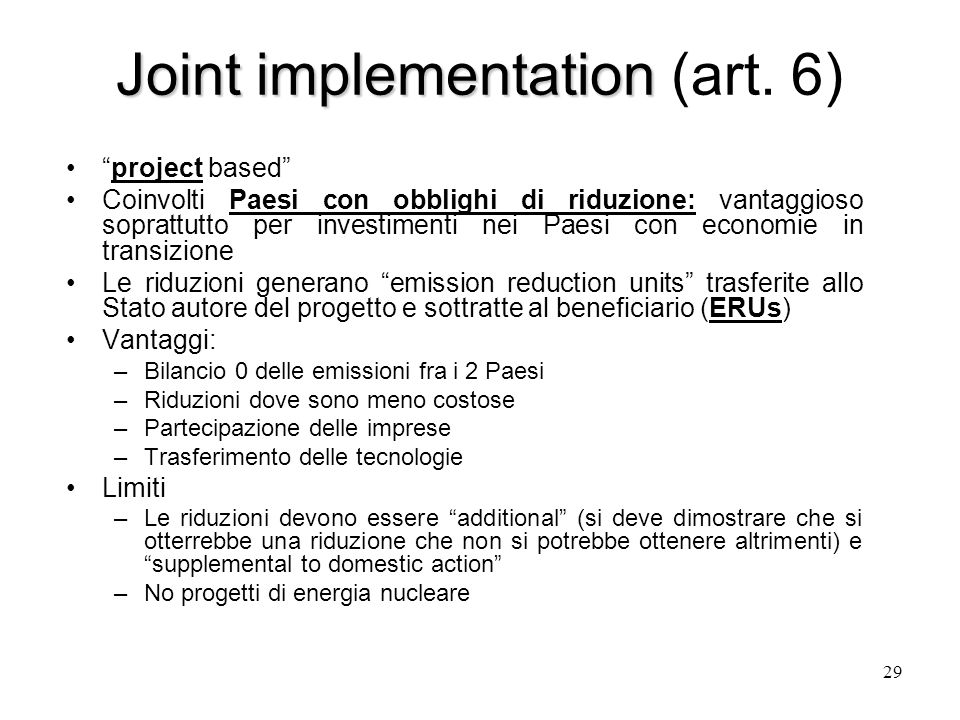 Joint implementation Joint implementation (art.