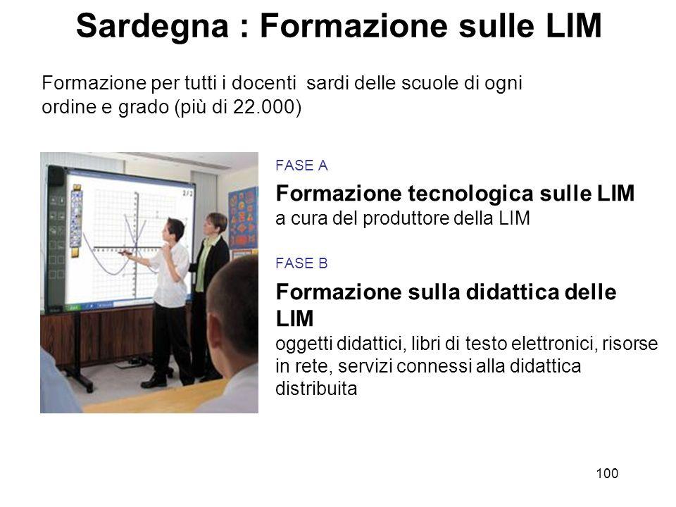 100 Sardegna : Formazione sulle LIM FASE A Formazione tecnologica sulle LIM a cura del produttore della LIM FASE B Formazione sulla didattica delle LI