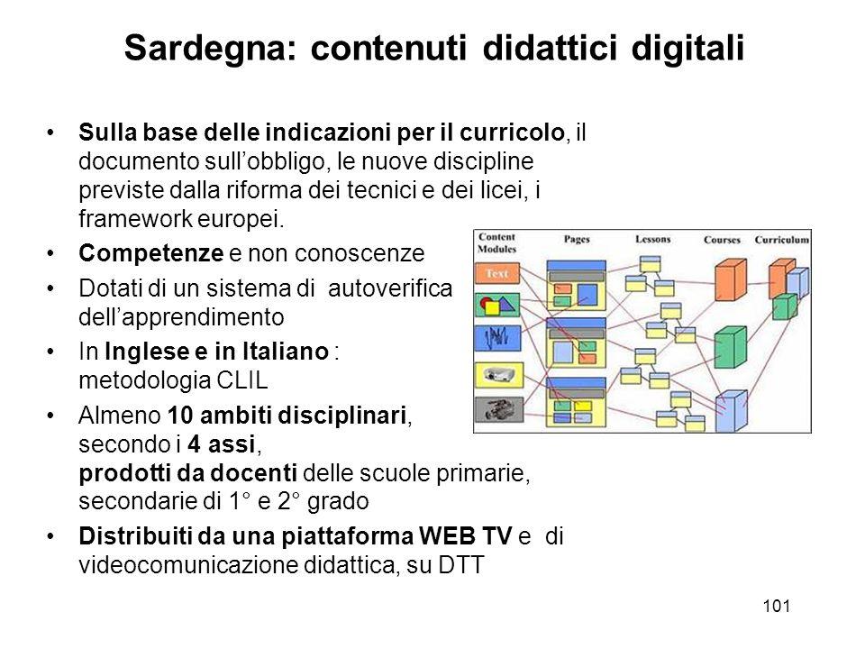 101 Sardegna: contenuti didattici digitali Sulla base delle indicazioni per il curricolo, il documento sullobbligo, le nuove discipline previste dalla