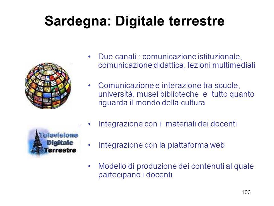 103 Sardegna: Digitale terrestre Due canali : comunicazione istituzionale, comunicazione didattica, lezioni multimediali Comunicazione e interazione t