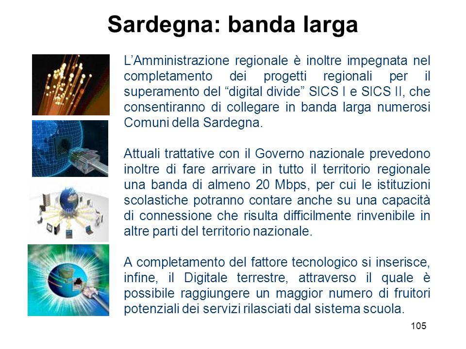 105 Sardegna: banda larga LAmministrazione regionale è inoltre impegnata nel completamento dei progetti regionali per il superamento del digital divid