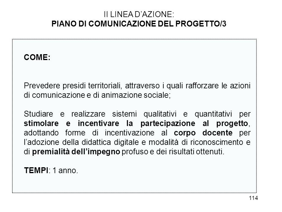 114 II LINEA DAZIONE: PIANO DI COMUNICAZIONE DEL PROGETTO/3 COME: Prevedere presidi territoriali, attraverso i quali rafforzare le azioni di comunicaz