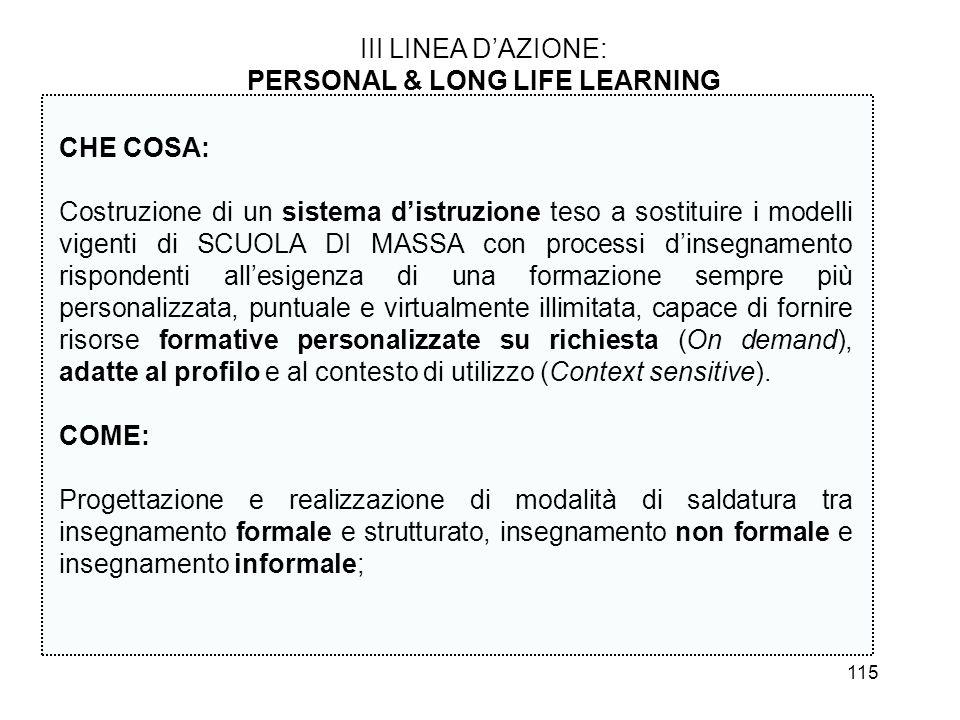 115 III LINEA DAZIONE: PERSONAL & LONG LIFE LEARNING CHE COSA: Costruzione di un sistema distruzione teso a sostituire i modelli vigenti di SCUOLA DI