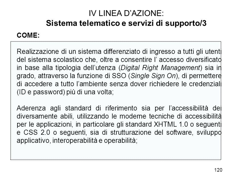 120 IV LINEA DAZIONE: Sistema telematico e servizi di supporto/3 COME: Realizzazione di un sistema differenziato di ingresso a tutti gli utenti del si