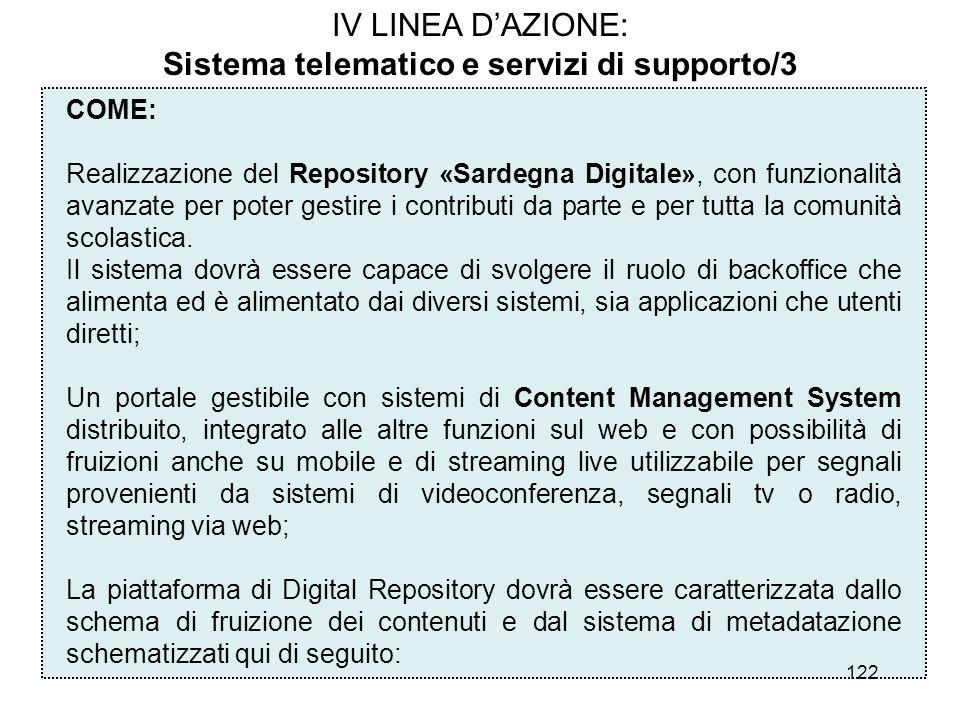 122 IV LINEA DAZIONE: Sistema telematico e servizi di supporto/3 COME: Realizzazione del Repository «Sardegna Digitale», con funzionalità avanzate per