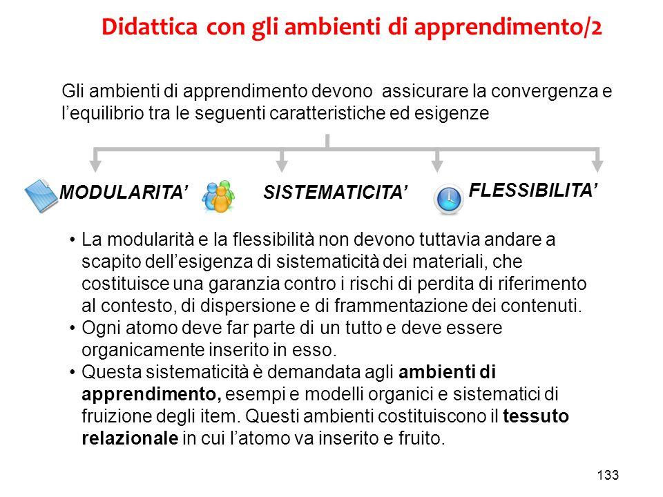 133 MODULARITASISTEMATICITA FLESSIBILITA Didattica con gli ambienti di apprendimento/2 Gli ambienti di apprendimento devono assicurare la convergenza