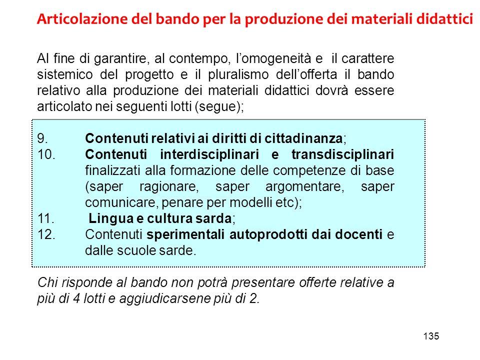 135 Articolazione del bando per la produzione dei materiali didattici Al fine di garantire, al contempo, lomogeneità e il carattere sistemico del prog