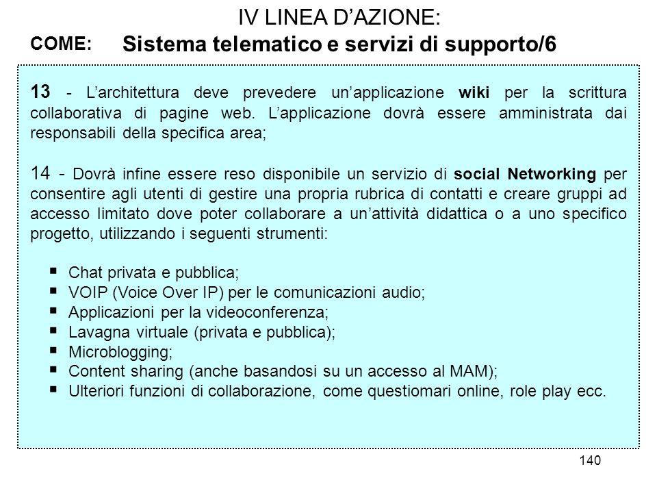 140 IV LINEA DAZIONE: Sistema telematico e servizi di supporto/6 COME: 13 - Larchitettura deve prevedere unapplicazione wiki per la scrittura collabor