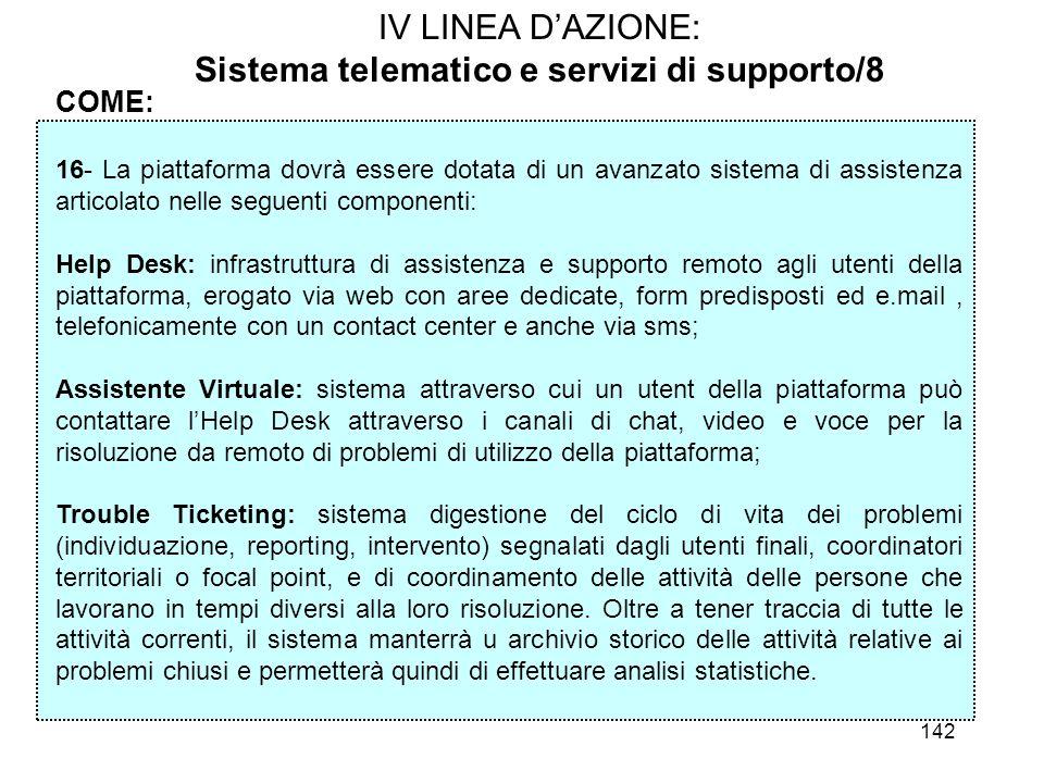 142 IV LINEA DAZIONE: Sistema telematico e servizi di supporto/8 COME: 16- La piattaforma dovrà essere dotata di un avanzato sistema di assistenza art