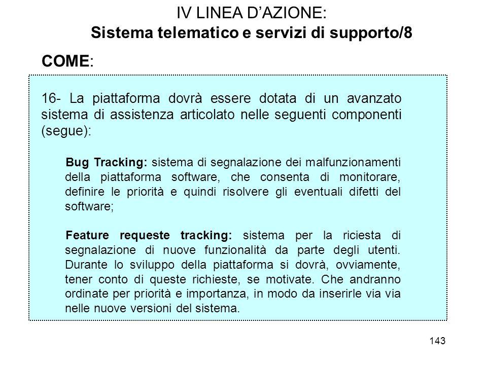 143 COME: 16- La piattaforma dovrà essere dotata di un avanzato sistema di assistenza articolato nelle seguenti componenti (segue): Bug Tracking: sist