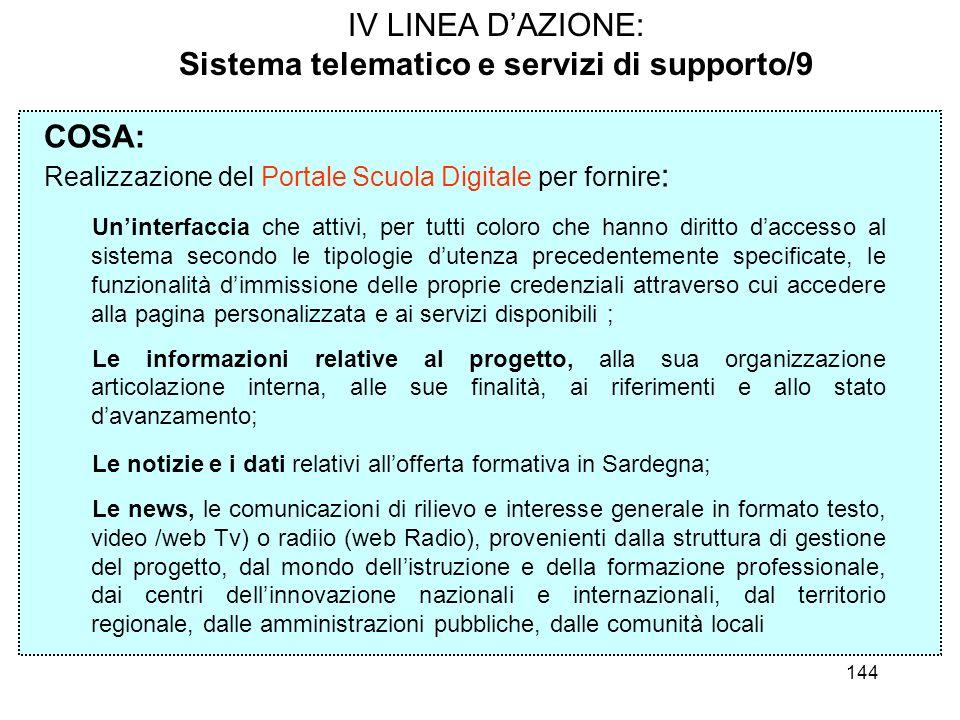 144 IV LINEA DAZIONE: Sistema telematico e servizi di supporto/9 COSA: Realizzazione del Portale Scuola Digitale per fornire : Uninterfaccia che attiv