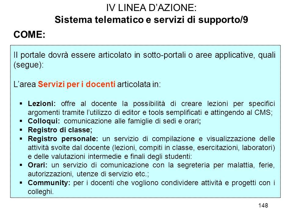 148 IV LINEA DAZIONE: Sistema telematico e servizi di supporto/9 COME: Il portale dovrà essere articolato in sotto-portali o aree applicative, quali (