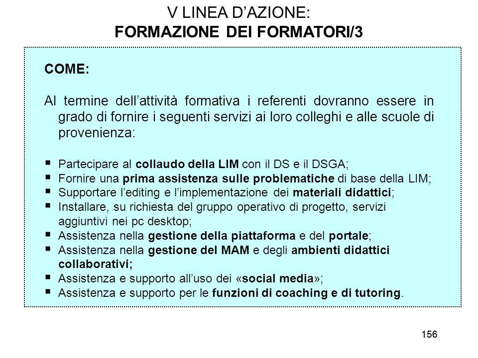 156 V LINEA DAZIONE: FORMAZIONE DEI FORMATORI/3 COME: Al termine dellattività formativa i referenti dovranno essere in grado di fornire i seguenti ser