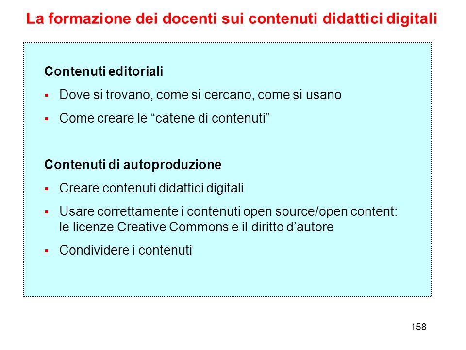 158 La formazione dei docenti sui contenuti didattici digitali Contenuti editoriali Dove si trovano, come si cercano, come si usano Come creare le cat
