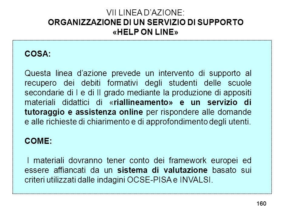 160 VII LINEA DAZIONE: ORGANIZZAZIONE DI UN SERVIZIO DI SUPPORTO «HELP ON LINE» COSA: Questa linea dazione prevede un intervento di supporto al recupe