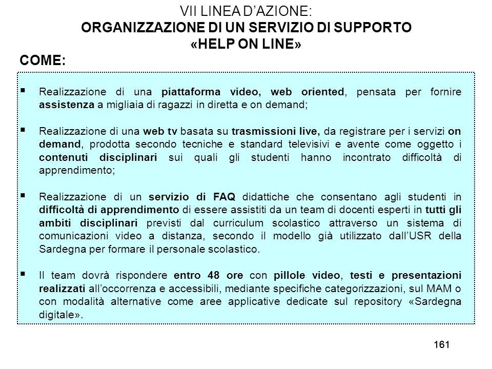 161 VII LINEA DAZIONE: ORGANIZZAZIONE DI UN SERVIZIO DI SUPPORTO «HELP ON LINE» COME: Realizzazione di una piattaforma video, web oriented, pensata pe