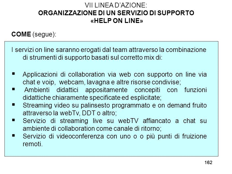 162 VII LINEA DAZIONE: ORGANIZZAZIONE DI UN SERVIZIO DI SUPPORTO «HELP ON LINE» COME (segue): I servizi on line saranno erogati dal team attraverso la