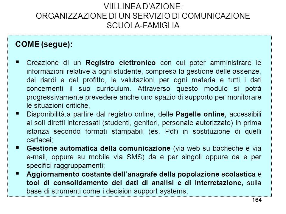 164 VIII LINEA DAZIONE: ORGANIZZAZIONE DI UN SERVIZIO DI COMUNICAZIONE SCUOLA-FAMIGLIA COME (segue): Creazione di un Registro elettronico con cui pote