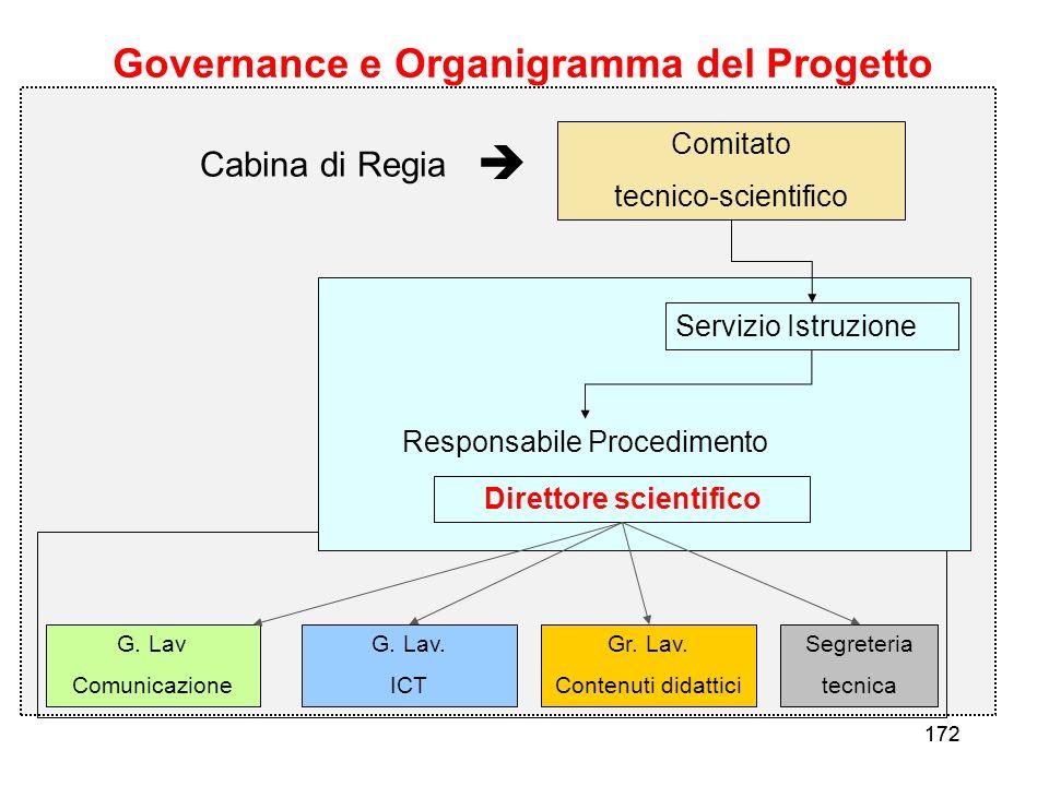 172 Governance e Organigramma del Progetto Comitato tecnico-scientifico Direttore scientifico Servizio Istruzione G. Lav Comunicazione G. Lav. ICT Gr.